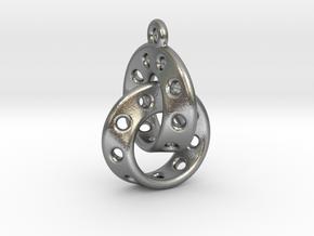 Möbius Band Earring Interlocked in Natural Silver (Interlocking Parts)