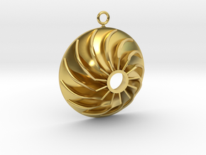 Impeller Earring in Polished Brass