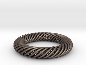 Torus Knot Bracelet 80mm inner diameter in Polished Bronzed-Silver Steel