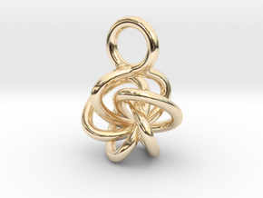 5-Knot Earring 10mm wide in 14K Yellow Gold