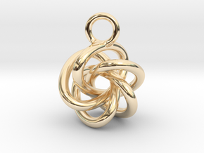 5-Knot Earring 15mm wide in 14K Yellow Gold