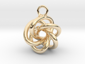 5-Knot Earring 20mm wide in 14K Yellow Gold