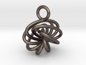 7-Knot Earring 10mm wide in Polished Bronzed-Silver Steel