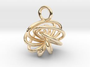 7-Knot Earring 10mm wide in 14K Yellow Gold