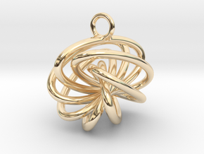 7-Knot Earring 15mm wide in 14K Yellow Gold