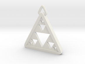 Triangle Fractal Pendant in White Natural Versatile Plastic