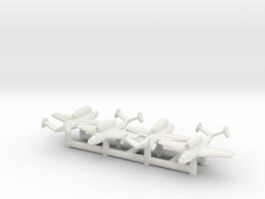 (1:350) (x4) Henschel Hs 132  in White Natural Versatile Plastic