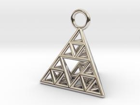 Sierpinski Tetrahedron earring with 16mm side in Platinum