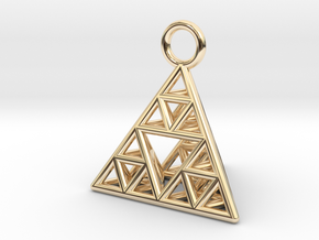 Sierpinski Tetrahedron earring with 16mm side in 14k Gold Plated Brass