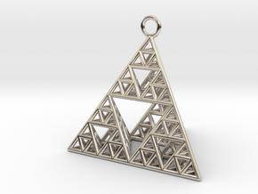Sierpinski Tetrahedron earring with 32mm side in Platinum