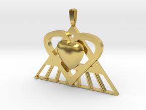 Pi Heart Medallion in Polished Brass: Medium