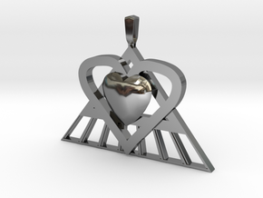 Pi Heart Medallion in Fine Detail Polished Silver: Medium
