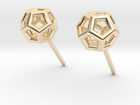 Simple Dodecahedron studs earrings in 14K Yellow Gold