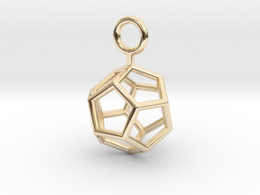 Simple Dodecahedron earring in 14k Gold Plated Brass