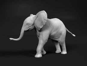 African Bush Elephant 1:32 Running Male Calf in White Natural Versatile Plastic