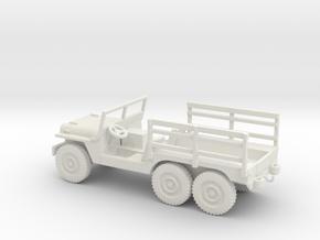 1/87 Scale 6x6 Jeep Cargo in White Natural Versatile Plastic