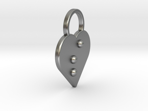"""""""s"""" Braille Heart in Natural Silver"""