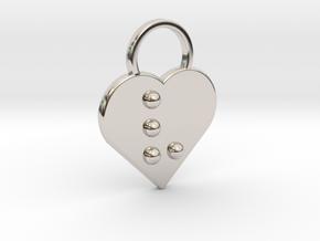 """v"" Braille Heart in Rhodium Plated Brass"