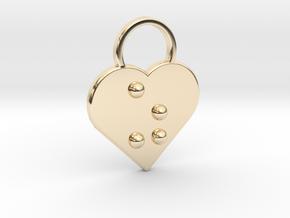 """""""z"""" Braille Heart in 14K Yellow Gold"""