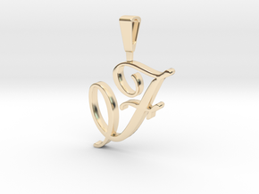 INITIAL PENDANT F in 14k Gold Plated Brass