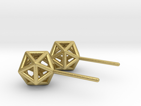 Simple Icosahedron Earring studs in Natural Brass