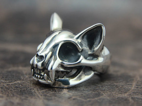 Cat Skull Ring in Polished Silver: 8 / 56.75