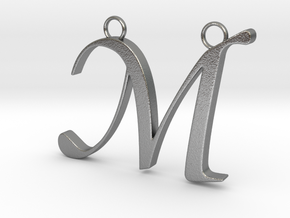 Letter M in Natural Silver