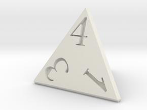 D4 Dice 24mm edge length in White Natural Versatile Plastic