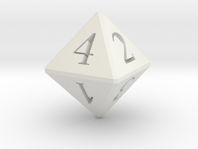 D8 Dice 12mm edge length in White Natural Versatile Plastic