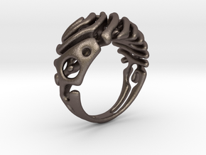 "Ring ""Wave"" in Polished Bronzed-Silver Steel"