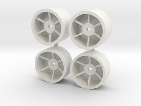 Mini-Z 4wd WIDE RIMS for F1 rubber in White Natural Versatile Plastic