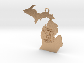 Map of Michigan with Michigan Flag Earring in Natural Bronze