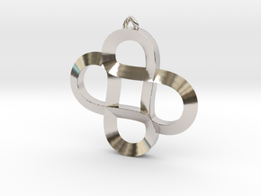 Infinity Hearts - Pendant in Rhodium Plated Brass