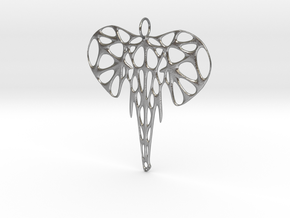 Elephant Voronoi Pendant in Natural Silver