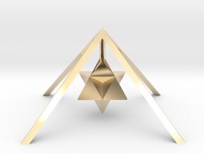 Golden Pyramid Star Tetrahedron in 14k Gold Plated Brass