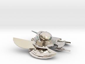The Alien Swarmer in Rhodium Plated Brass
