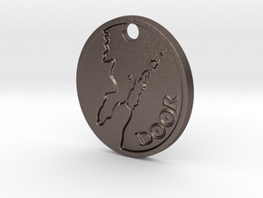 Door County keychain (V2) in Polished Bronzed-Silver Steel