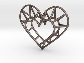 Minimalist Heart Pendant in Polished Bronzed-Silver Steel