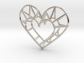 Minimalist Heart Pendant in Rhodium Plated Brass