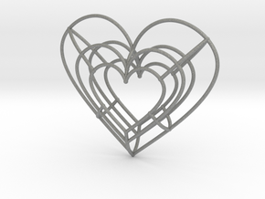 Large Wireframe Heart Pendant in Gray Professional Plastic