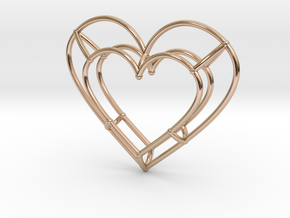 Small Open Heart Pendant in 14k Rose Gold Plated Brass