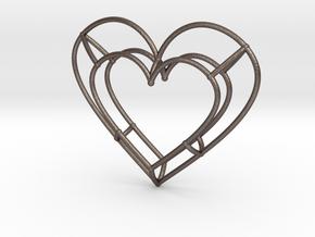 Medium Open Heart Pendant in Polished Bronzed-Silver Steel
