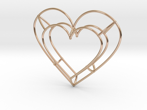 Large Open Heart Pendant in 14k Rose Gold Plated Brass