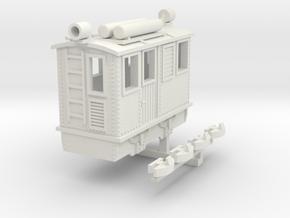 Egger-bahn style narrow gauge boxcab locomotive in White Natural Versatile Plastic