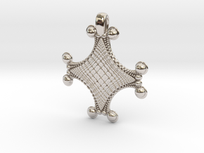 Fractal Pendant Order 4 in Rhodium Plated Brass