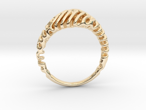 Reaction Diffusion Ring  5 in 14k Gold Plated Brass
