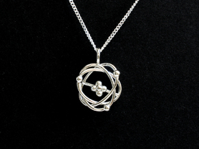 Atomic Model Pendant - Science Jewelry in Polished Silver