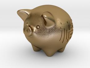 pig in Polished Gold Steel