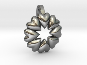 Love Makes The World Go Round  in Polished Silver