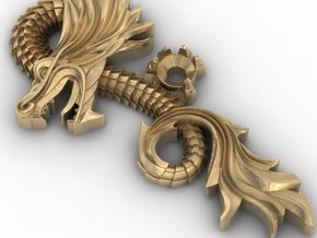 Dragon pendant in Polished Brass
